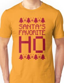Santa's Favorite Ho T-Shirt, Funny Mens Womens Christmas Gift, Ugly Christmas Sweater Unisex T-Shirt