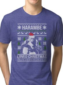 Harambe Loved Christmas Sweater Tri-blend T-Shirt