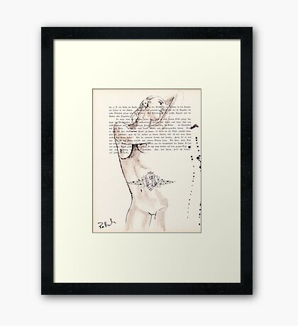 ink on paper, very old paper Framed Print