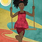 Barefoot Girl on Swing by Janet Carlson