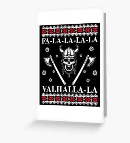 Valhalla Ugly Christmas Sweater, Men Women Viking T-Shirt Greeting Card