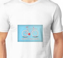 Candy Cane Bicycle - Happy Holidays Unisex T-Shirt