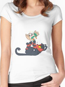 Litten and Rowlet! Women's Fitted Scoop T-Shirt
