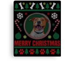 Staffordshire Terrier Dog ugly Christmas Sweater T-Shirt, American Staffordshire Terrier Ugly Christmas Sweater T-Shirt Canvas Print