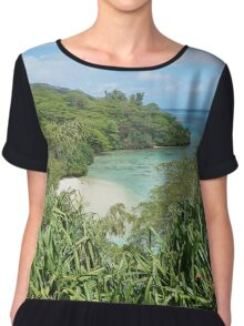 Secluded sandy beach with lush tropical vegetation Chiffon Top