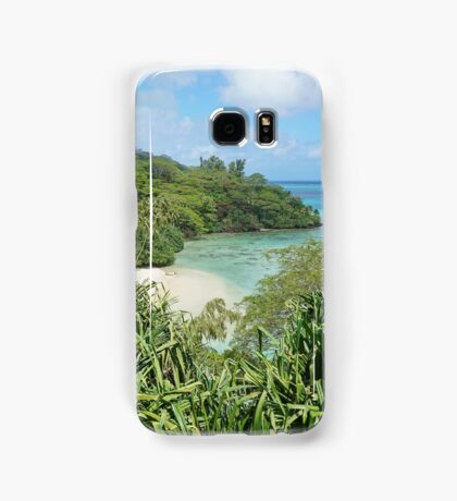 Secluded sandy beach with lush tropical vegetation Samsung Galaxy Case/Skin