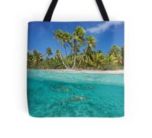 Over and under the sea tropical shore with sharks Tote Bag