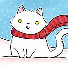 White Cat in the Snow by Zoe Lathey