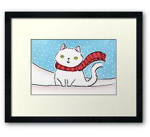 White Cat in the Snow Framed Print