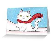 White Cat in the Snow Greeting Card