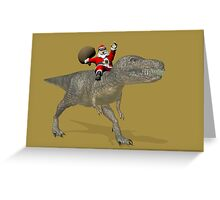 Santa Claus Riding A Trex Greeting Card