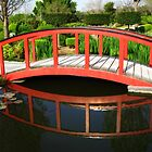 Red Bridge Reflections - Japanese Gardens by Marilyn Harris