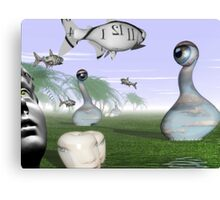Corporate loan sharks encircling family dream  Canvas Print