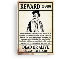 Billy the Kid Wanted Poster Canvas Print