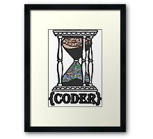 CODER  (hourglass)(programming) Framed Print