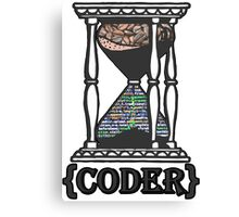 CODER  (hourglass)(programming) Canvas Print
