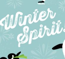 Winter Spirit - Ice Skating Penguins on blue Sticker