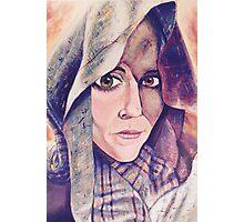 Green Brown Eyes Shawl Woman Photographic Print