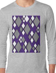 Purple gray white argyle pattern Long Sleeve T-Shirt