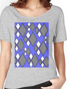 Periwinkle blue, gray white argyle pattern Women's Relaxed Fit T-Shirt