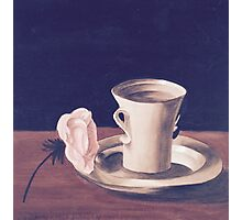 Tea Cup and Pink Flower Still Life Photographic Print
