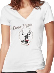 Deer Papa - I love my dear family Women's Fitted V-Neck T-Shirt