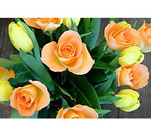 Bouquet of roses and tulips Photographic Print