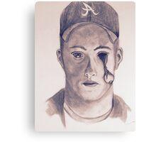 Eye on You Baseball Player Pencil Drawing Portrait Canvas Print