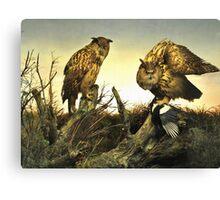 Owls On The Hunt L B Canvas Print