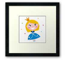 Happy smiling cute Blond princess with Crown : Blue Framed Print