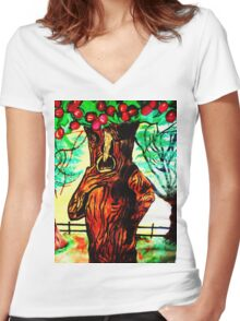 WIZARD OF OZ SELFISH APPLE TREE Women's Fitted V-Neck T-Shirt