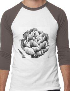 Double Petal Tulip - Ink Drawing Men's Baseball ¾ T-Shirt