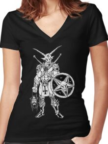 Battle Goat Icon Death Metal Art Women's Fitted V-Neck T-Shirt