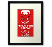 Keep calm and remove the arrow from your knee Framed Print