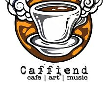 Caffiend flying cup -drop shadow, small logo by Oliver James