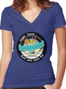 Angel Grove Youth Center - Gym & Juice Bar Women's Fitted V-Neck T-Shirt
