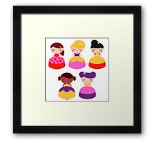 For all princess Lovers : Princess with various Hairstyles Framed Print