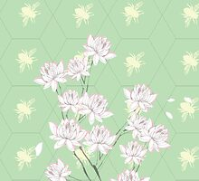 Magnolia Bees in Green  by MadebyBengtsson
