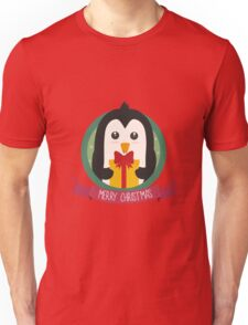 Penguin with Christmas Present Unisex T-Shirt