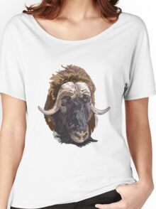 Hand drawn vector illustration of a musk ox s head Women's Relaxed Fit T-Shirt