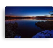 Dusk touches cold water Canvas Print