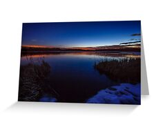 Dusk touches cold water Greeting Card