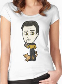 Star Trek TNG - Lieutenant Commander Data with Spot Chibi Women's Fitted Scoop T-Shirt