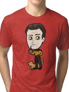 Star Trek TNG - Lieutenant Commander Data with Spot Chibi Tri-blend T-Shirt