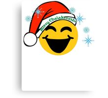 Emoji TShirt Family Set Christmas Santa Hat Happy Emoji Shirt Canvas Print