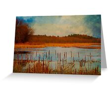 Great Meadows painted with cattails Greeting Card