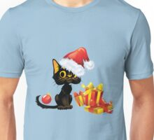Cute Cat with Santa Hat for a Christmas Gift Unisex T-Shirt