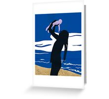 Josh and Harley on the beach Greeting Card