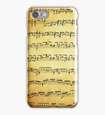 Music sheet on vintage paper iPhone Case/Skin