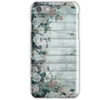 Vintage Shabby Chic Shades Of Blue Roses iPhone Case/Skin